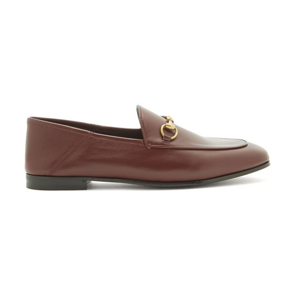Gucci foldable-heel leather horsebit loafers in burgundy