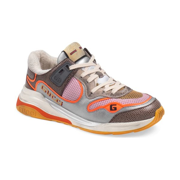 Gucci g line low top sneaker in silver/ orange/ brown