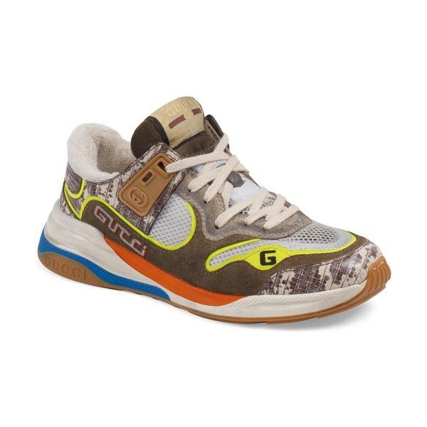 Gucci ultrapace low top sneaker in brown/ green/ blue
