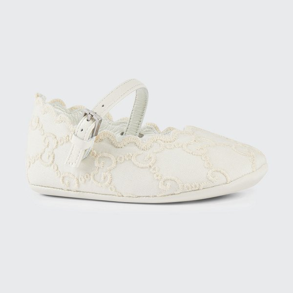 Gucci GG Embroidered Lace Ballet Flats in white
