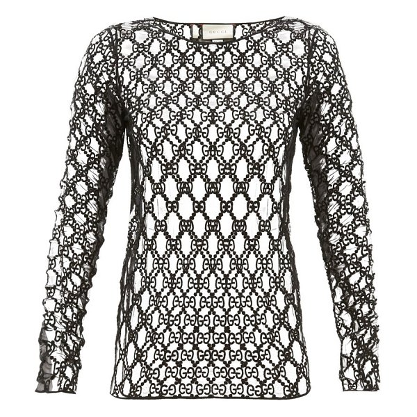 Gucci gg embroidered mesh long sleeved top in black