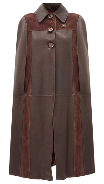 Gucci gg-logo leather and suede cape in brown