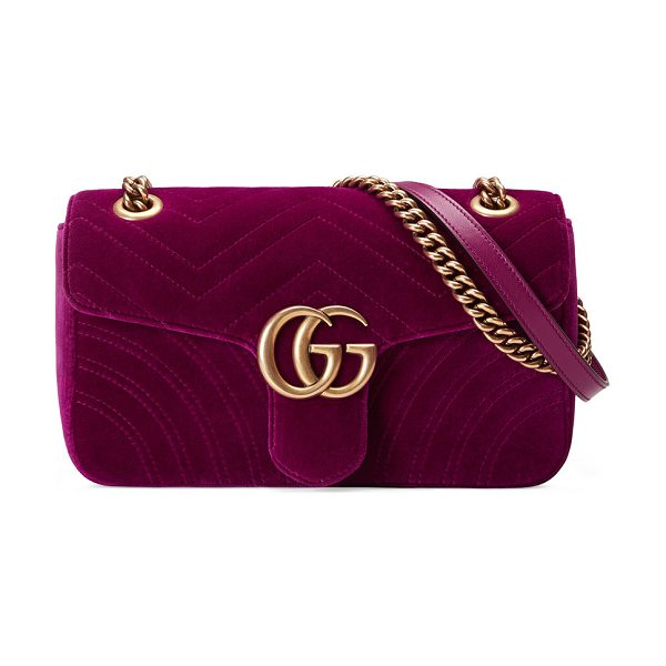 Gucci GG Marmont Small Quilted Velvet Crossbody Bag in fuschia