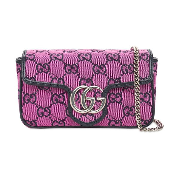 Gucci Mini gg marmont multicolor canvas bag in pink,blue