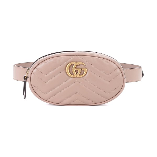 Gucci gg marmont leather belt bag in beige