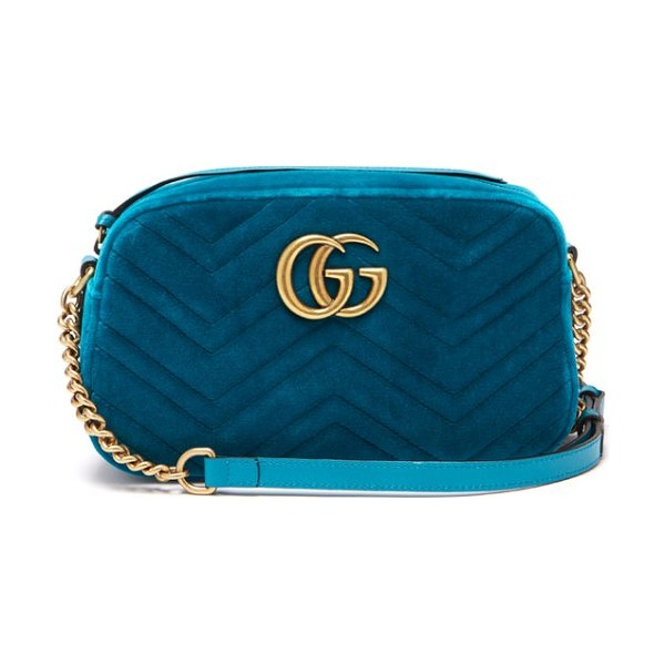 Gucci Gg Marmont Quilted Velvet Cross Body Bag in green - Gucci - This new deep turquoise-green velvet version of...