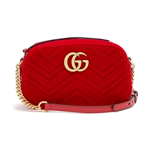 Gucci gg marmont quilted velvet cross body bag in red
