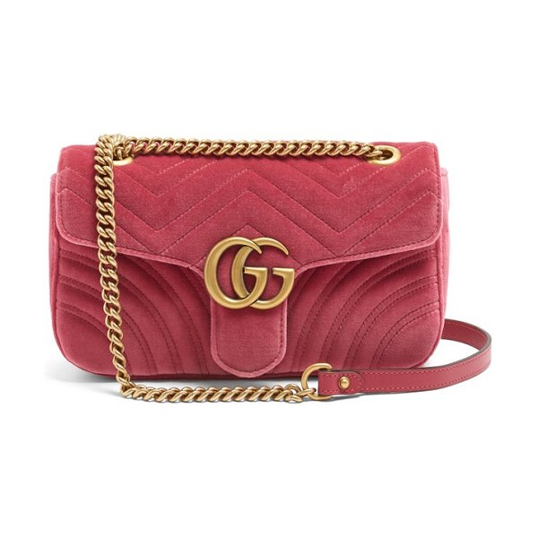Gucci gg marmont small quilted velvet cross body bag in pink