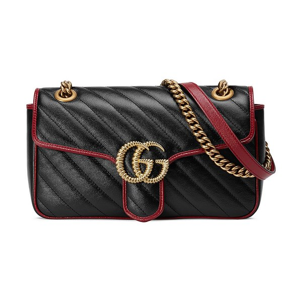 Gucci GG Marmont 2.0 Small Shoulder Bag - Golden Hardware in black/red