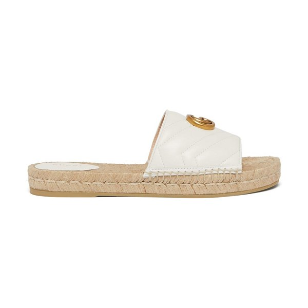 Gucci gg matelassé leather espadrille slides in white