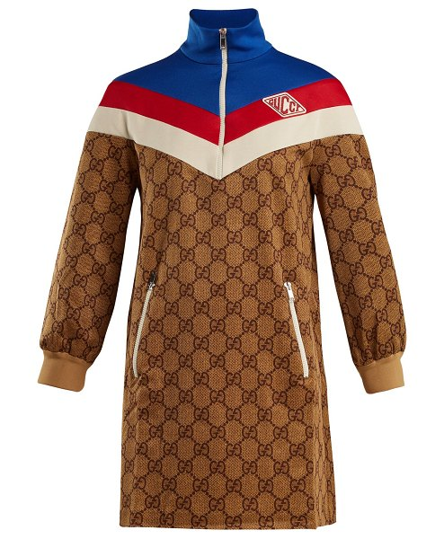Gucci Gg Print Technical Jersey Dress In Brown Effortlessly Blends Heritage With