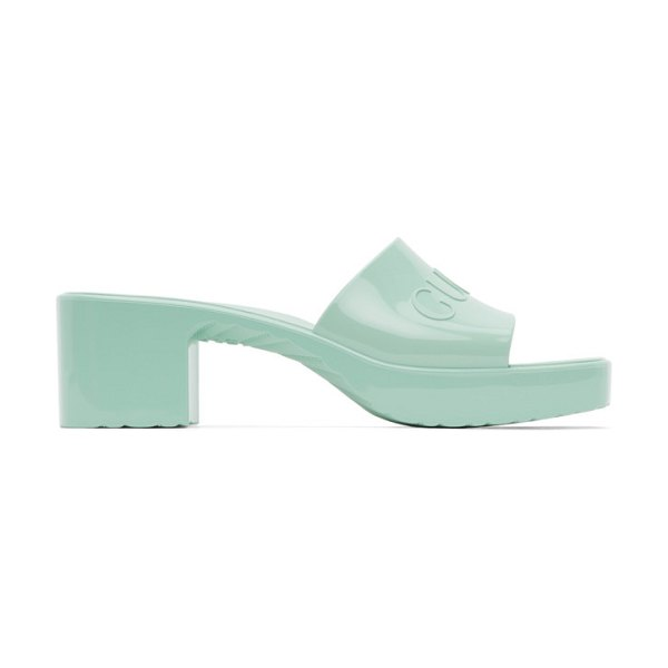 Gucci green rubber slide sandals in 3926 green