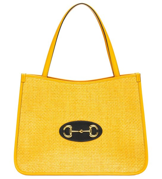 Gucci Gucci 1955 horsebit textured tote bag in yellow