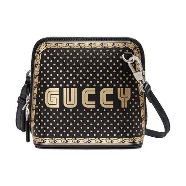Gucci guccy logo moon & stars leather crossbody bag in nero/ oro - Inspired by classic arcade games from the '80s,...