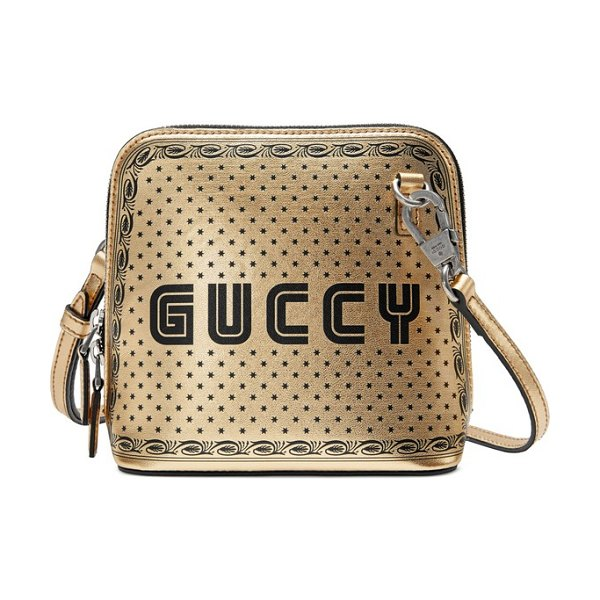 Gucci guccy logo moon & stars leather crossbody bag in metallic - Inspired by classic arcade games from the '80s, playful...