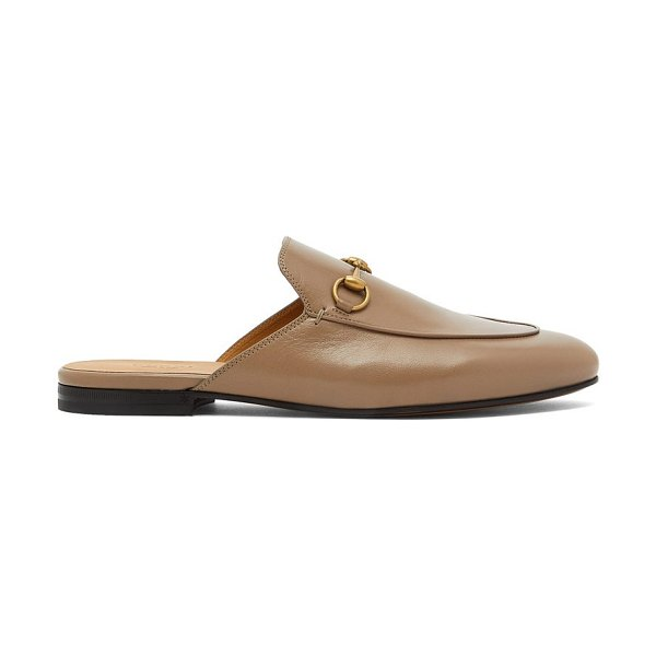 Gucci horsebit leather backless loafers in beige