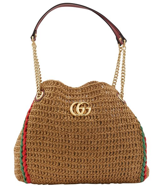 Gucci Large raffia tote bag in natural