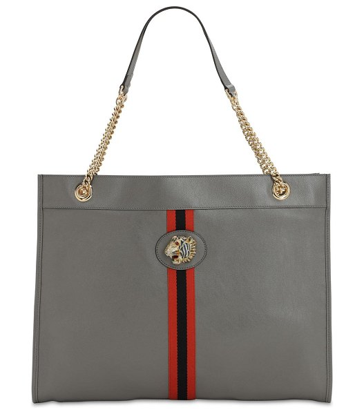 Gucci Large raja leather tote bag in dusty grey