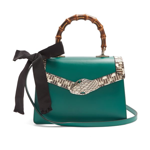 Gucci Lilith Small Bamboo Handle Leather Bag In Green S Dainty