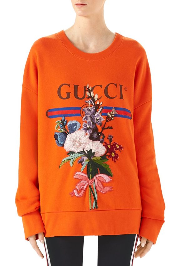 c6939ef246bc Gucci logo floral-embroidered sweatshirt in deep orange - Cotton sweatshirt  with embroidered floral applique