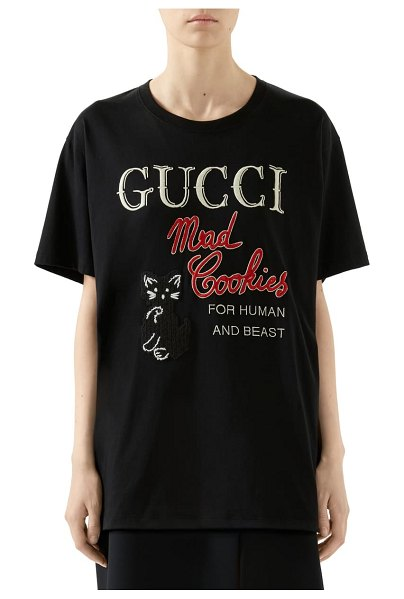 Gucci mad cookies embroidered graphic tee in black/ multicolor