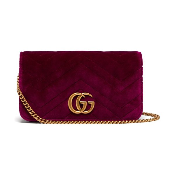 Gucci Marmont Gg Velvet Mini Cross Body Bag in purple - Gucci - Gucci's coveted Marmont bag is scaled down and...