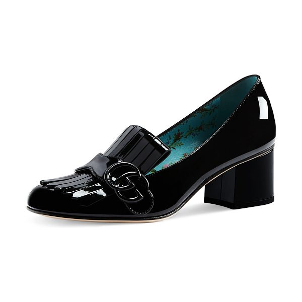 "Gucci Marmont Patent Loafer Pump in black - Gucci ""Marmont"" patent leather loafer pump. 2.3"" covered..."