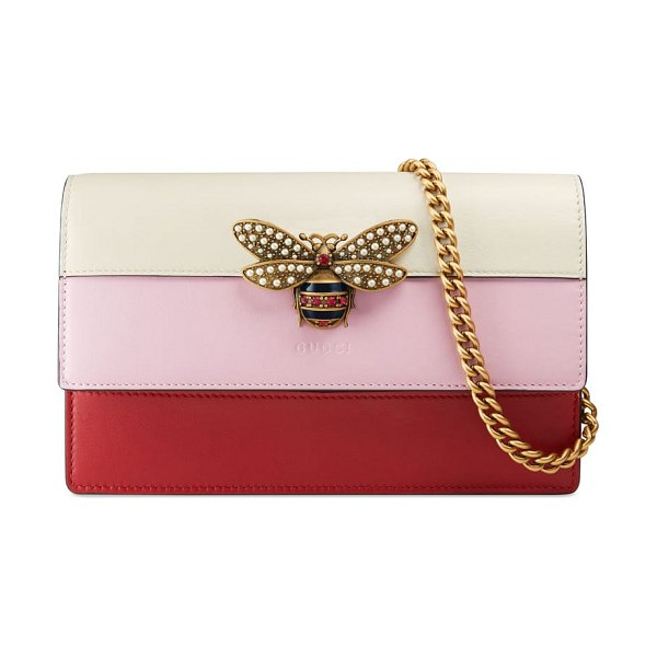 Gucci mini bee multistripe leather shoulder bag in women~~bags~~handbag - Studded with ruby-red crystals and lustrous imitation...