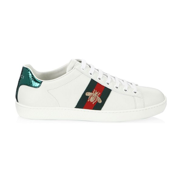 Gucci new ace bee embroidered sneakers in white
