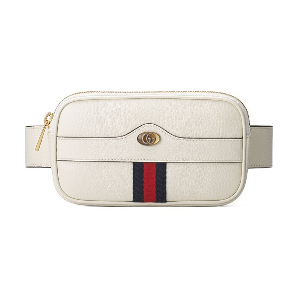 Gucci Ophidia Leather Belt Bag in white