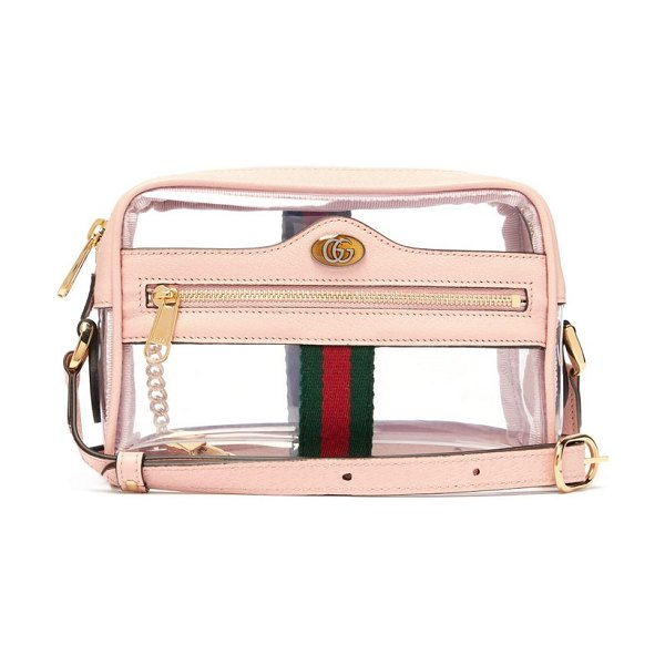 Gucci ophidia mini pvc and leather cross body bag in light pink