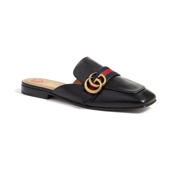 Gucci loafer mule in black leather