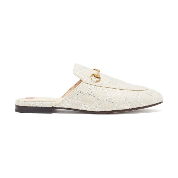 Gucci princetown logo-jacquard canvas backless loafers in white silver