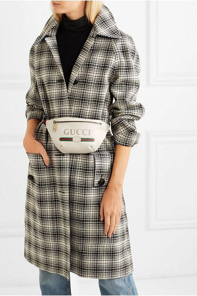Gucci printed textured-leather belt bag in white - The belt bag is one of this season's biggest...
