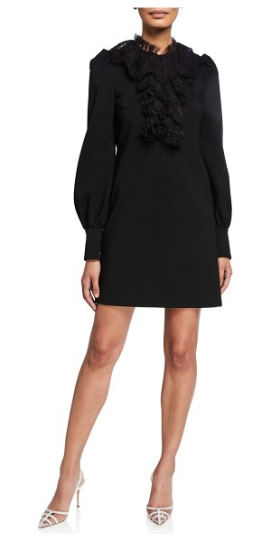 Gucci Puff-Sleeve Lace Trim Jersey Dress in black