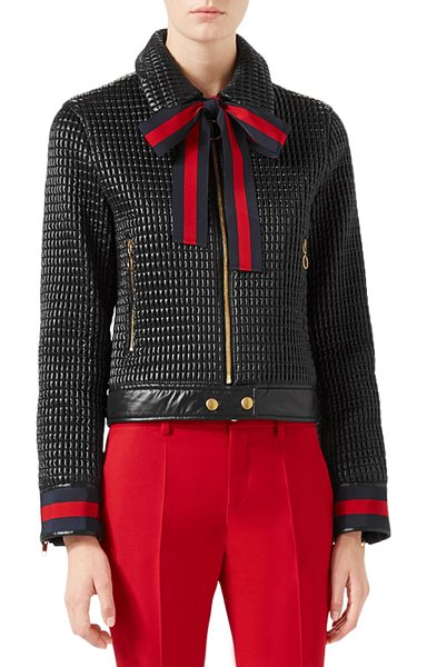 Gucci Quilted Bomber Jacket In Black Shopstasy