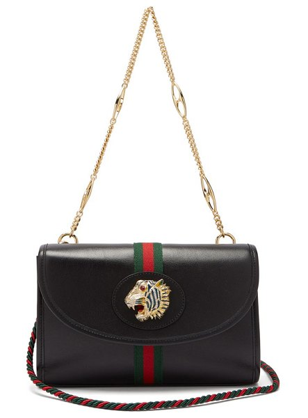 Gucci rajah small leather cross body bag in black multi - Gucci - Inspired by a piece from famed jewellery...