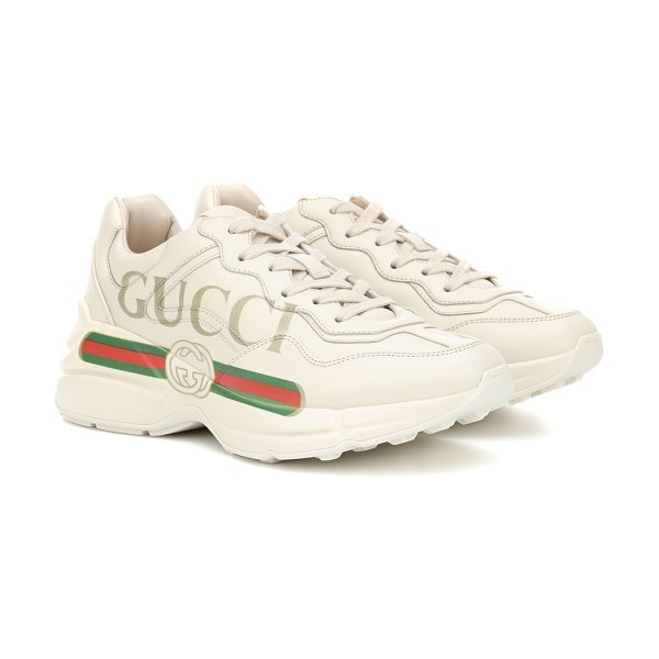 Gucci rhyton leather sneakers in white