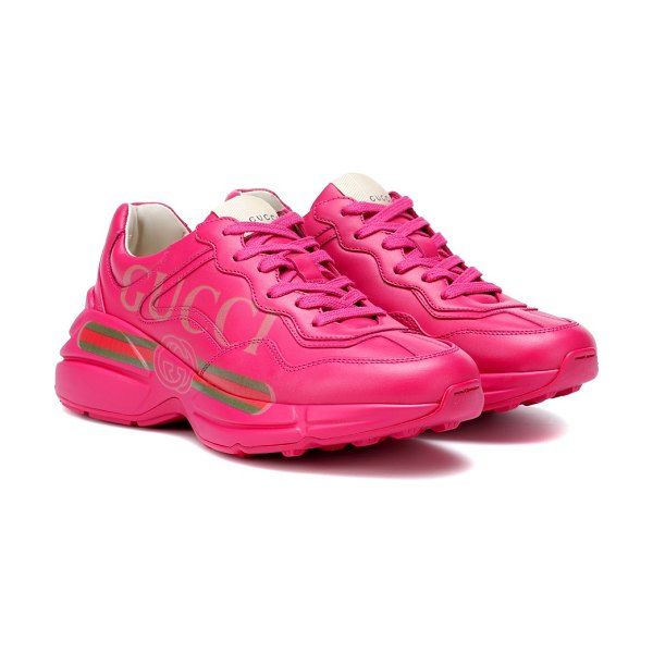 Gucci rhyton leather sneakers in pink
