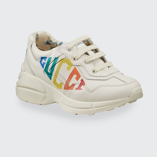 Gucci Rhyton Rainbow Logo Chunky Leather Sneakers in white