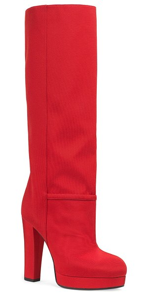 Gucci Ribbed Fabric Platform Boots in red