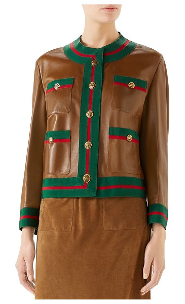 Gucci Ribbon-Trim Button-Front Leather Jacket in brown pattern