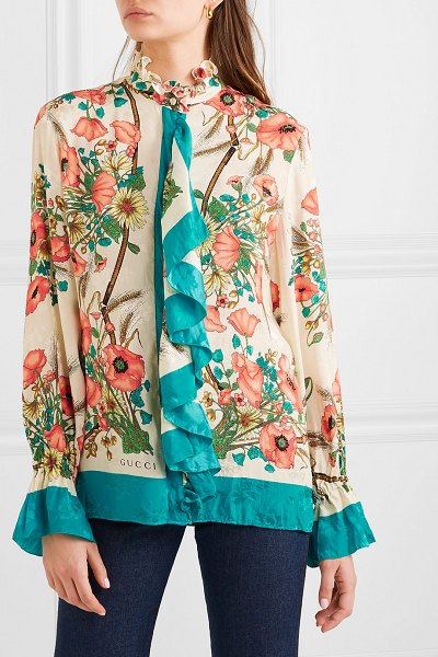Gucci ruffled floral-print silk-jacquard blouse in ivory - Gucci's blouse is printed with bouquets of poppies - the...