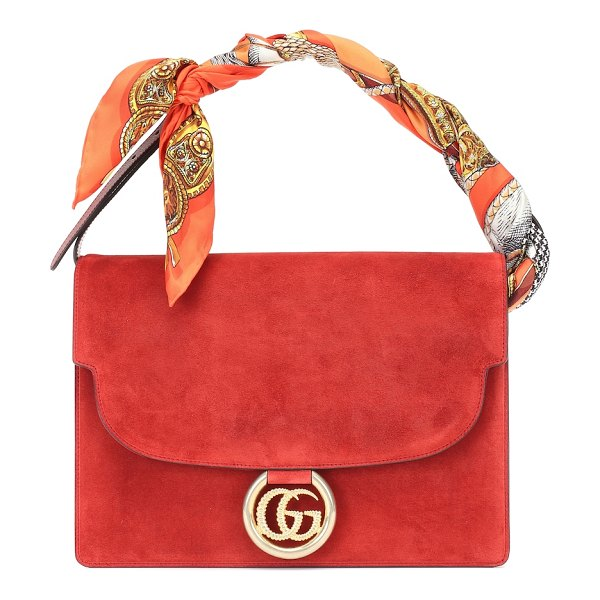 Gucci scarf-trimmed suede shoulder bag in red