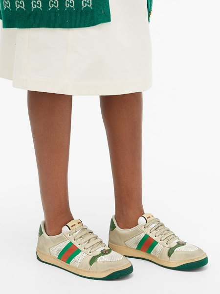 Gucci screener leather low-top trainers in green white