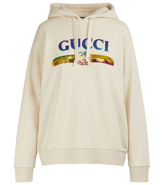 Gucci Sequined logo sweatshirt in natural
