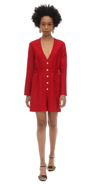 Gucci Short wool cady & silk crepe jumpsuit in red