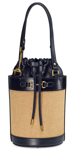 Gucci small 1955 horsebit canvas & leather bucket bag in brown beige