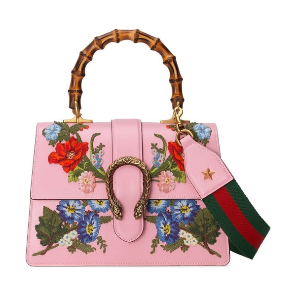 Gucci small dionysus top handle leather shoulder bag in sugar pink/multi