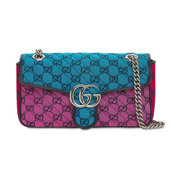 Gucci Small gg marmont  multicolor canvas bag in blue,pink